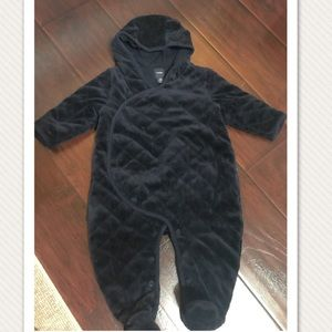 Velvet fabric, bear ear hoody, footed one piece